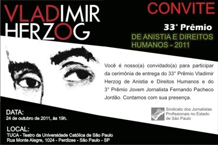 Convite para cerimônia de premiação do 33º Prêmio Vladimir Herzog de Anistia e Direitos Humanos